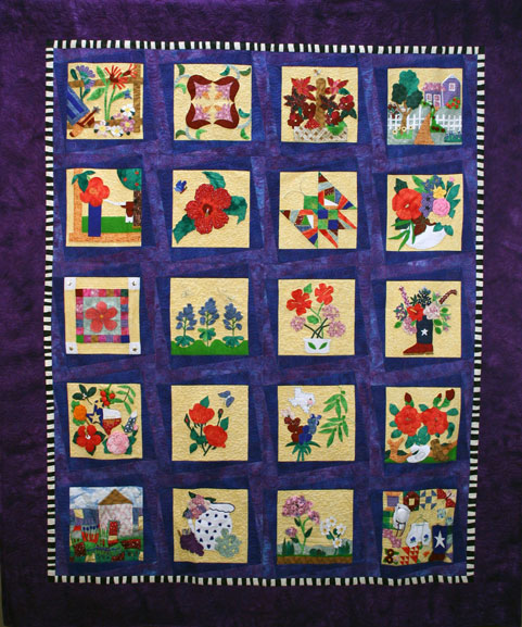 The Texas Blooming Floral quilt celebrates the natural beauty and color Texas plants have to offer. Unveiled at the 2002 State Fair of Texas, the Texas Blooming Floral quilt uses Texas natural fibers to showcase Texas Superstars – floral plants identified by Texas A&M University Agricultural Program as specifically suited to the Texas environment.