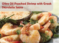 Olive Oil Poached Shrimp with Greek Skordalia Sauce