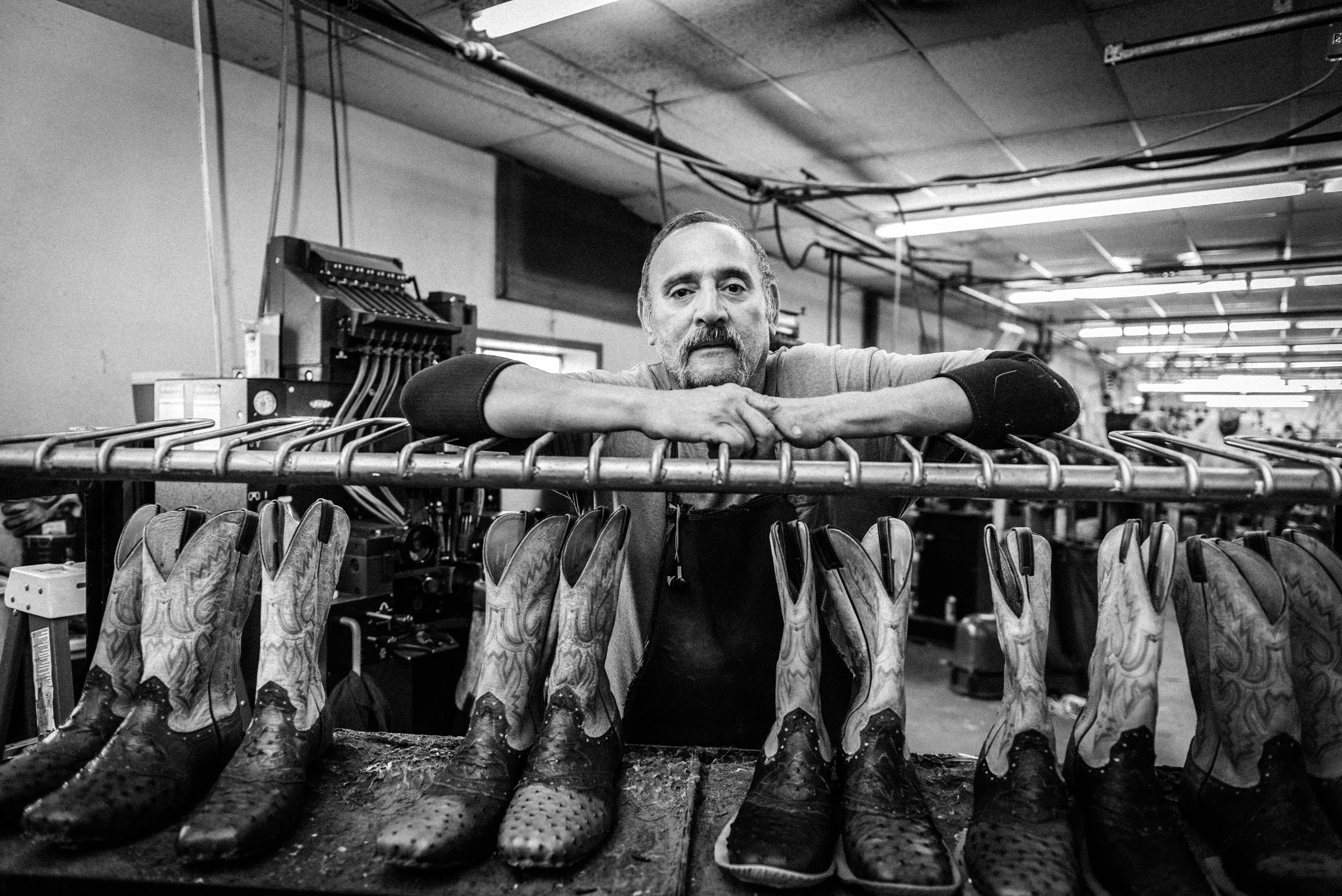 Ezekiel, a bootmaker at Fenoglio Boot Co. with 20 years' experience