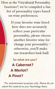 Here at the Viticultural Personality Institute*, we've compiled a fun list of personality types based on wine preferences.